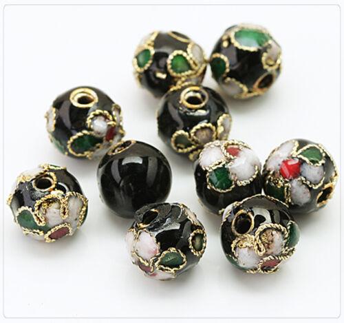 10x Metall Cloisonne Emaille Perlen Beads Schmuck Basteln DIY 8mm schwarz cb064