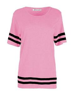 Ladies Women/'s Short Sleeve V Neck Stripe Summer T-Shirt Stretchy Top SM ML 8-14