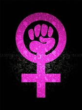 WOMEN POWER GIRL FEMINISM PINK TEXTURE WALLPAPER ART PRINT POSTER QU346A