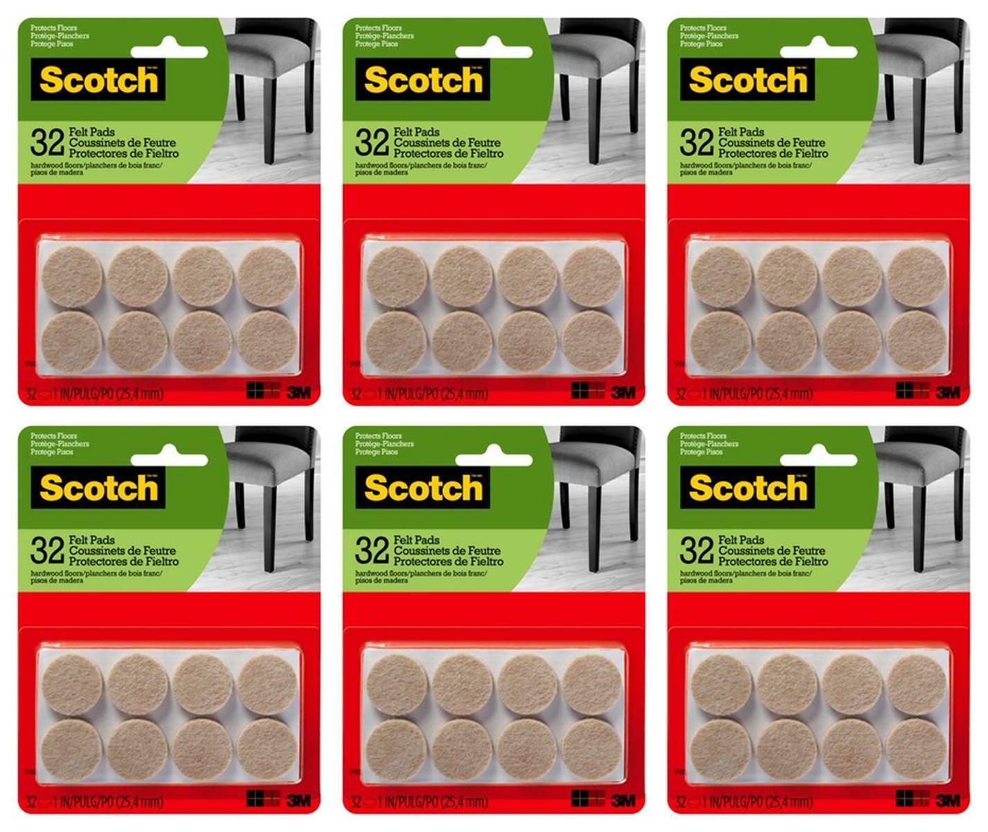 Scotch Almohadillas De Fieltro Redondo, en 1, Beige, Lote De 6 paquetes (32 Almohadillas/Pack)