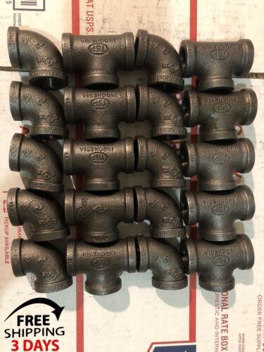 """10 Negro de hierro maleable 3//4/"""" roscado de tubería accesorios Fontanería 10 Tees los codos y"""