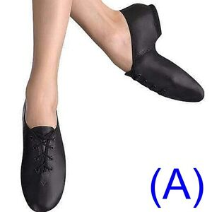 JAZZ-DANCE-SHOES-Black-Leather-UNISEX-split-sole-pumps-irish-hard-jig-AA