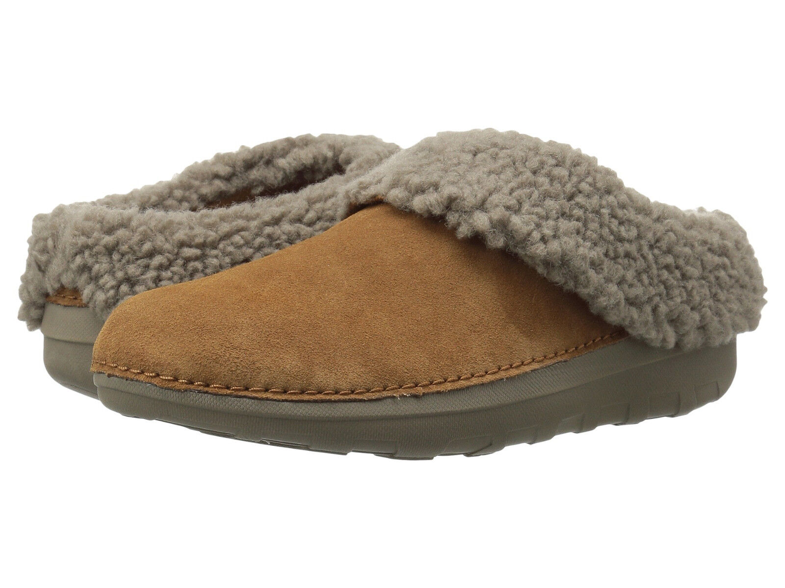 Damens Fitflop Loaff Snug Slippers B76-047 Chestnut Suede 100% Authentic B. New