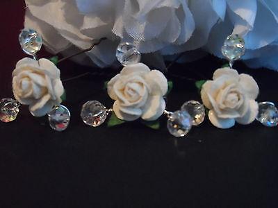 WEDDING CRYSTAL VINTAGE 6 ROSE HAIR PINS BOBBY PEARLS BRIDAL BRIDE 30 colours