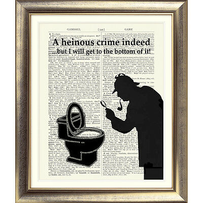 SHERLOCK HOLMES ART PRINT ON DICTIONARY BOOK PAGE Toilet sign FUNNY Novelty
