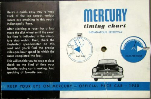 1950 Mercury Indianapolis 500 Pace Car Speedway Lap Timing Chart
