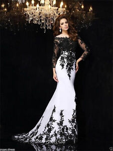 Image Is Loading Black White Lace Long Sleeves Prom Dress 2018