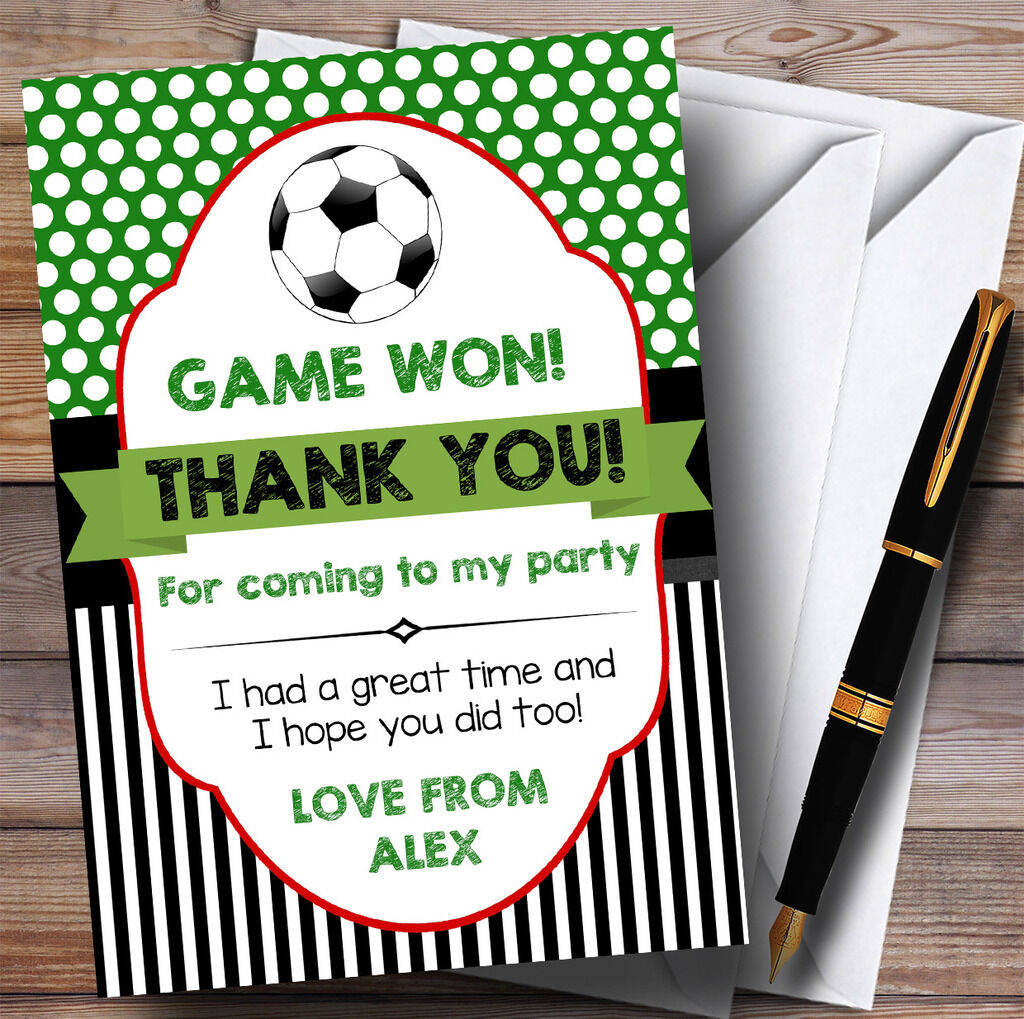 Spots & Stripes Football Party Thank You Cards
