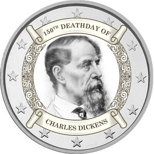 2-Euro-Gedenkmuenze-mit-Charles-Dickens-coloriert-Farbe-Farbmuenze