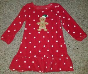 7d8b73ac6522 CARTER S Red Polka Dot GINGERBREAD MAN Fleece Nightgown Girls Size 2 ...