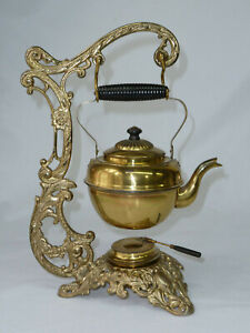 Antique-Late-1800-039-s-Tea-Pot-w-Warmer-on-a-Cast-Iron-Stand-by-Bradley-amp-Hubbard
