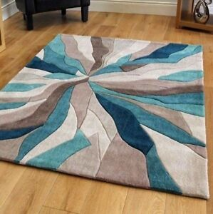Infinite-Splinter-Tapis-Rectangulaire-TURQUOISE-MARRON-Living-Room-Decor-Moderne-UK