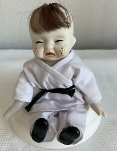 Vintage Rare Adorable Dorcey Bisque Crying Baby Doll With The Bow 6 Inches