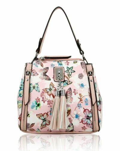 Womans Ladies Shoulder Handbag Medium Faux Leather Cross Body Butterfly Print Uk