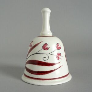POOLE-POTTERY-DINNER-BELL-HEART-FLOWERS-VALENTINES-DAY-GIFT-CUTE-PRESENT-VINTAGE