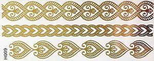 Tattoo-Gold-Einmal-Flash-Klebe-Temporary-8teile-Armband-Hals-Kette-Fuss-Body-H9