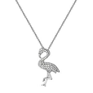 925-Sterling-Silver-Ladies-Flamingo-Pendant-Necklace-18-034-New-Rhodium-Plated