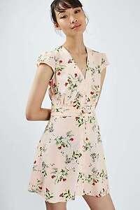 Peach Flippy Nude Dress Tea Topshop Floral Pink Size 16 Blush BqEwUAn4X