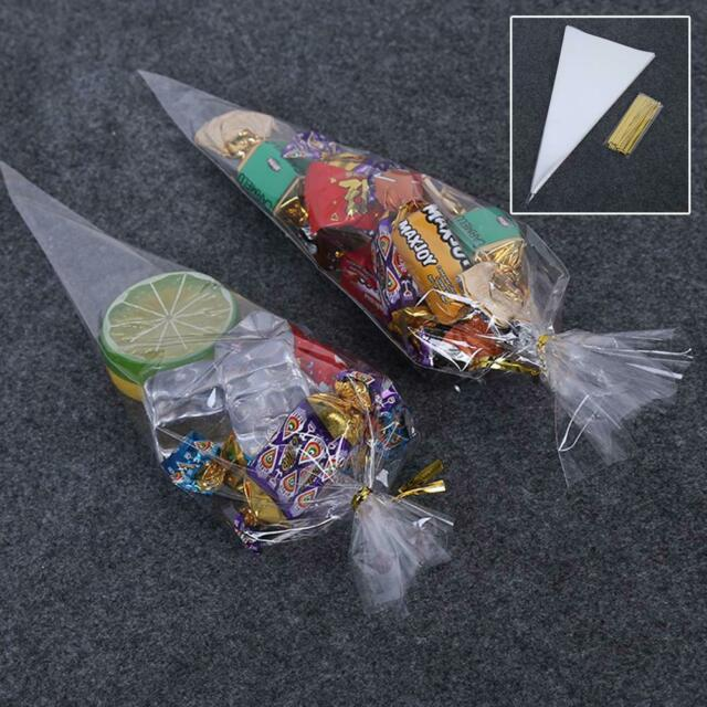 50 Pcs Clear Cellophane Cone Bags Large Size Party Sweet Cello Candy Packing
