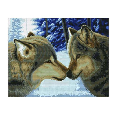 Wolf Kuss Kreuzstich Stickpackung Stickbild Stickvorlage vorgedruckt