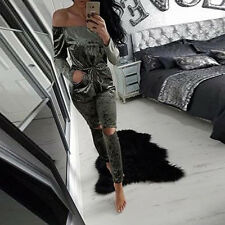 New Womens Crushed Velvet Casual Tops T Shirt Party Jumpsuit Playsuit Mini Dress