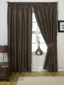 ONE-PAIR-LINED-FAUX-SILK-PENCIL-PLEAT-CURTAINS-CHOCOLATE-66-x-90