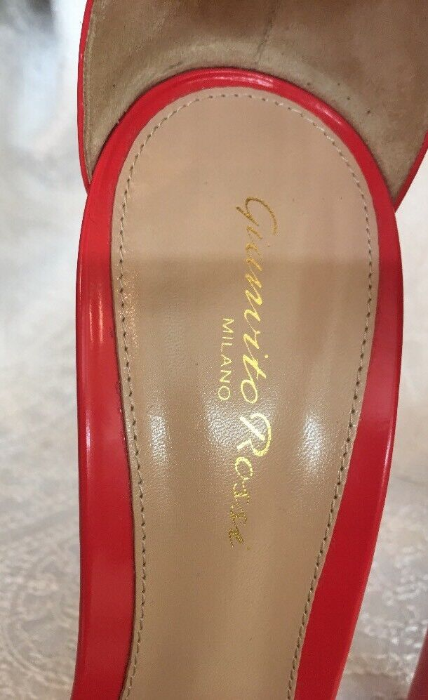 Gianvito Rossi shoes shoes shoes Reddish Patent Leather Ankle Strap Size 40 New 4b3662