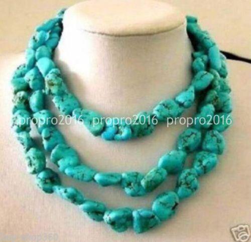 """48/' /""""Long 10x14mm naturel irrégulier Turquoise forfaitaire Gemmes Perles Colliers PN839"""