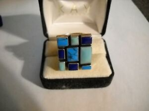 925-Sterling-Silver-Turquoise-Lapis-Square-Ring-Size-8-5