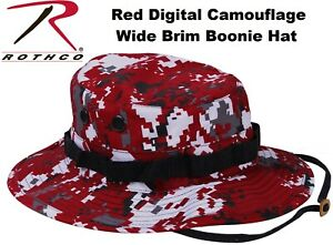 e177a746a9d Image is loading Digital-Red-Camouflage-Military-Wide-Brim-Tactical-Bucket-