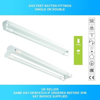 LED T8 2ft 4ft 5ft Batten Fitting Fixture - with or without LED tube IP20