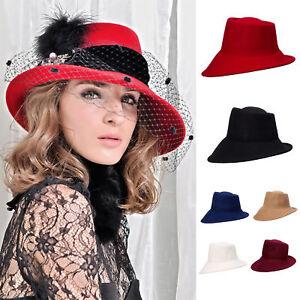 37fb8407138 Womens 100% Wool Felt Tilt Asymmetrical Brim Wedding Church Fedora ...