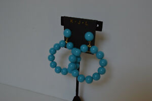 Kenneth-Jay-Lane-Bead-Hoop-Earrings-Turquoise-New
