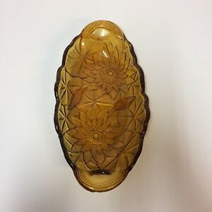 Amber-Glass-Oval-Dish-Sunflower-Design-Candy-Nut-Relish-Celery-9-5-034-Long-5-034-Wide