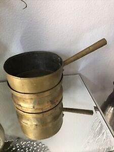 Antique-Hand-Made-Brass-copper-Pot-With-Handle-And-Base
