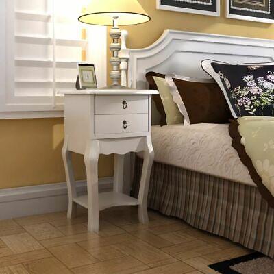 Mesa Auxiliar Mesita de Noche 2 Cajones Blanco Mueble Moderno Mesita Alta