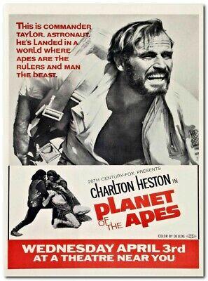 PLANET OF THE APES Movie Rare Charlton Heston da00 Poster Fabric 30 24x36 E-2737