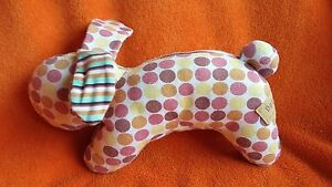 Mamas-amp-Papas-Dotty-Pink-Rabbit-Soft-Toy-comforter-with-Rattle-10-5-034-Rare