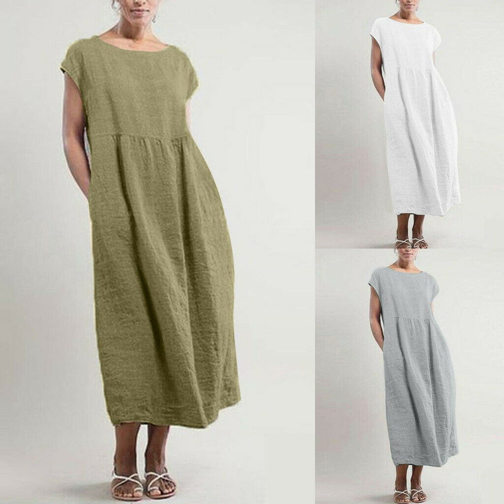 Plus Size Women Linen Solid Sleeveless O-neck Maxi Pocket Loose Long Dress S-5XL