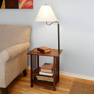 Side End Table With Floor Lamp 3 Rack Shelves Living Room