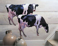 2 Lg Cow Wall Murals Black White Country Kitchen Farm House Wall Stickers Decor