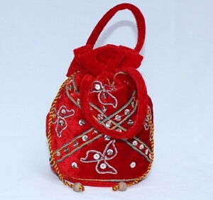 Image Is Loading Sequin And Velvet Drawstring Bag Handmade In Northern