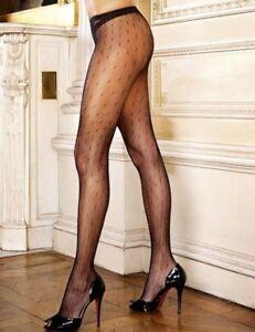60efed1eaf4 Luxury Patterned Tights Fishnet Black Dot Ladies Nylon Lingerie Sexy ...