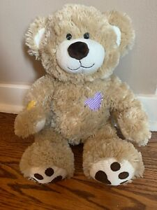 Build a Bear Patches Teddy Corduroy Champ Heart Tan Stuffed Animal Toy BAB Plush