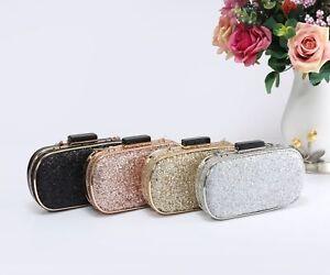 New-Women-039-s-Glitter-Patent-Oval-Hardcase-Evening-Clutch-Purse-Pouch-Bag-Handbag