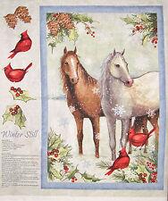 Christmas Fabric Winter Still Horse Cardinal Birds Holiday CP61282 ~ Wall Panel