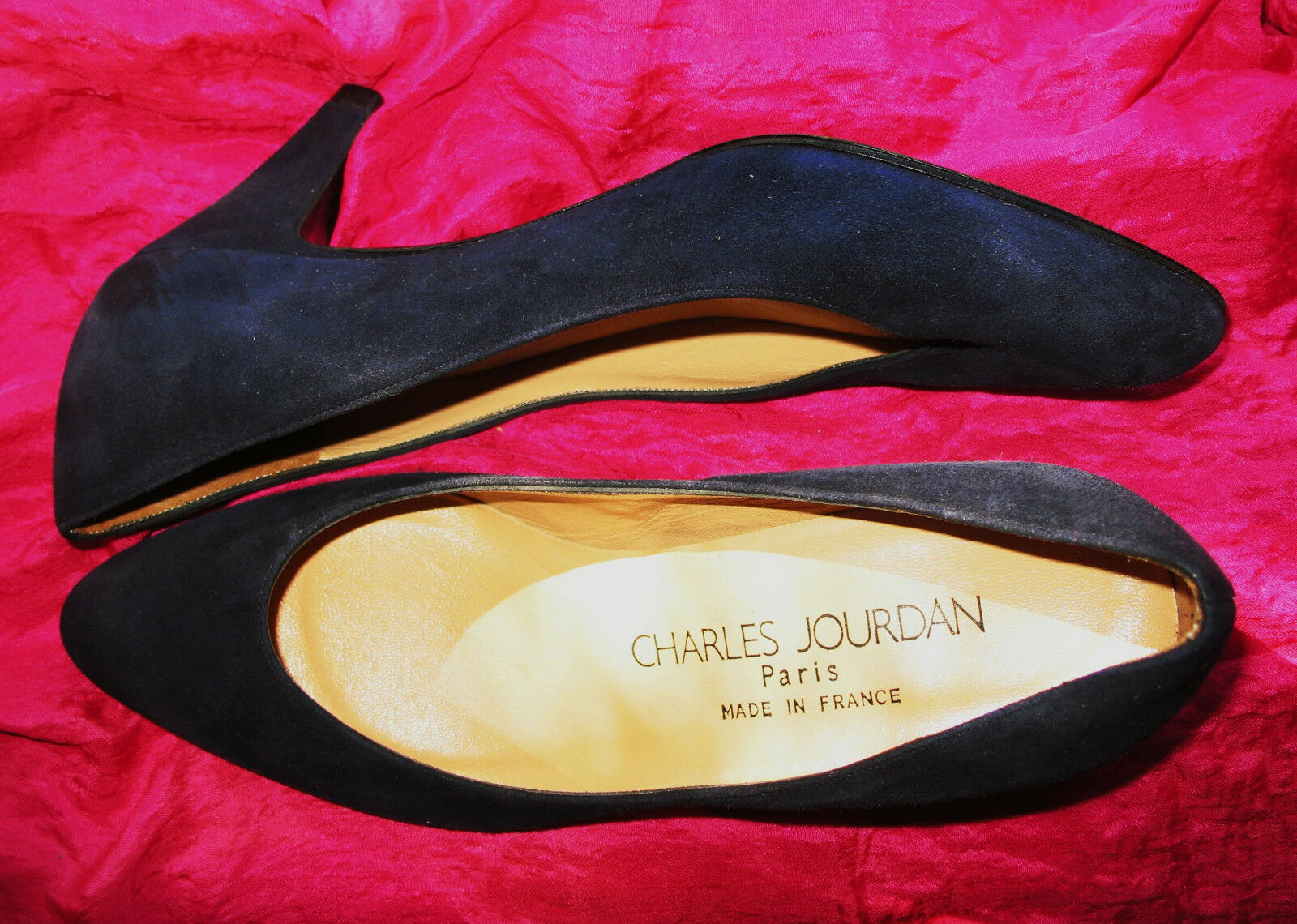 CHARLES JOURDAN chaussures noir SUEDE LEATHER CLASSY PUMPS S 5.5 B 36 MADE IN FRACE
