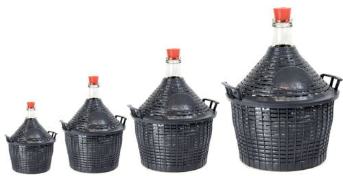 Weinballon Glasflasche Glasballon Glasgärballon Kunststoffkorb Gummistopfen