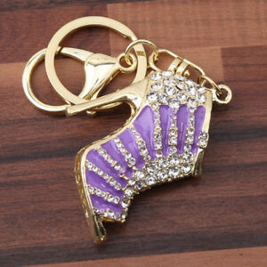 High-Heel-Shoes-Shape-Crystal-Charm-Pendant-Keyring-Keychain-Lobster-Clasp-SW
