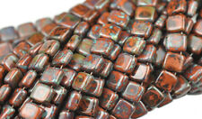 25 Picasso Umber 2 Hole Czech Glass Flat Square Beads 6MM